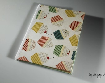 Handmade notebook recycled paper cupcakes and polka dot patterns