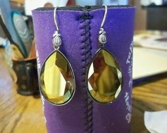 Big Bold Golden Shadow Swarovski Crystal Earrings 30x20mm BS10