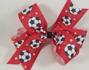 Soccer Grosgrain Bow