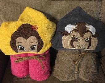 Princess and Beast Hooded Towels