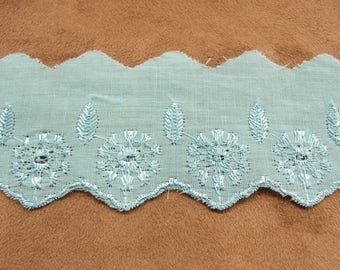 Embroidery anglaise-4 cm - TURQUOISE blue
