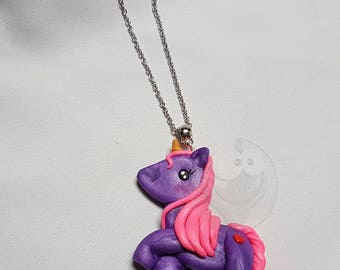 Unicorn necklace purple Kawaii polymer clay
