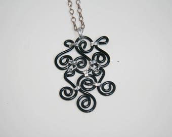Black necklace - aluminum - handmade