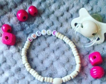 """Lucile"" bracelet with wooden beads"