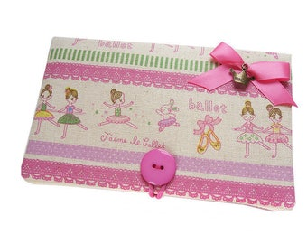 "Pouch cover Nintendo 3DS ""I love ballet"" dancers in pink white linen fabric"