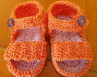 Orange glitter and lilac crochet baby sandals