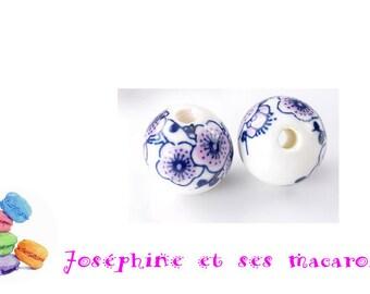 1 Perle ceramic 12mm flower pattern