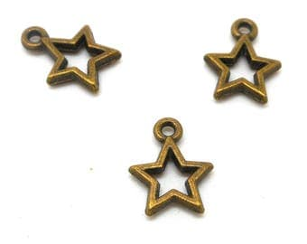 10 stars hollow bronze metal charms