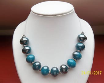 Blue ball necklace in fantasy beads