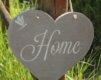 Door / welcome heart weathered taupe