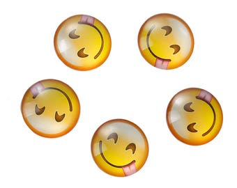 Lot 20 SC79934 pattern Emoji Smiley smile tongue to stick - 12mm glass Cabochons