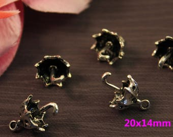 Set of 20 charms silver umbrella 20x14mm