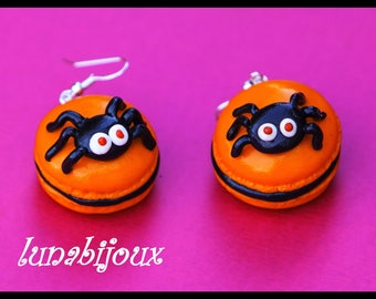 halloween spider fimo macaroon earring
