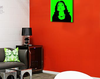 Portrait of Andy Warhol style on canvas 30 x 30 frame 3D (28mm)