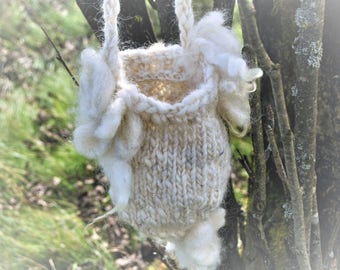 Rustic hand-knitted forest fairytale fantasy art Bag
