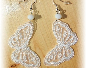Crystal beads and white lace butterfly earrings