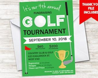 Golf Tournament Invitation Invite Fundraiser Digital 5x7 Charity Green Sports Championship Company