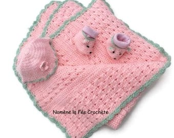 Personalized blanket, hat and booties mice, crochet pink baby set, handmade