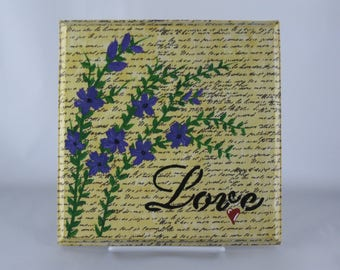 Handpainted, antiqued wood plaque with purple flowers and heart