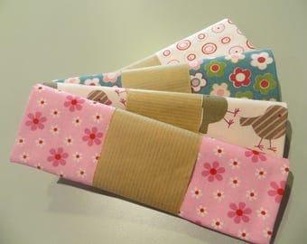 four cut 100% cotton fabric 50 x 50 cm pink tones