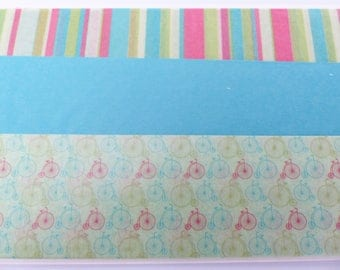 3 sheets of paper decopatch 40 X 60 cm stripe blue red green blue and green with bicycle