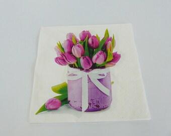 4 Tulip bouquet 33 X 33 cm format lunch napkin