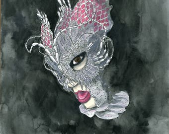 Bjork in James Merry Headpiece art print