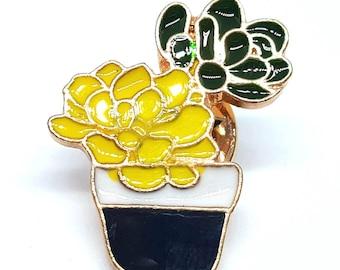Badges pin metal enameled cactus succulent pot plant