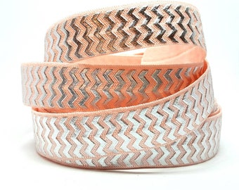 Silver zigzag pink pattern elastic band