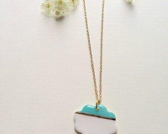 """Necklace """"cloud tassels"""" porcelain"""
