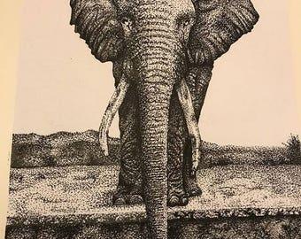 Pointillism elephant life