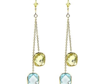 14k Yellow Gold Chandelier Gemstone Earrings with Cushion Cut Blue Topaz And Lemon Quartz