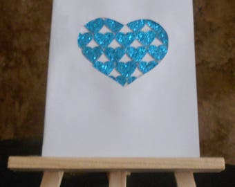 Map cut out heart filled hearts glitter
