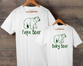 Papa Bear, Baby Bear - Dad Son/Daughter matching T-shirts, Father Son shirt, papa daughter tshirt set, 100% Cotton, FREE Delivery
