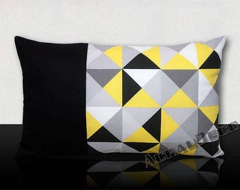Cushion graphic triangles - grey Dove/yellow/black clear/white/gray steel. Vertical black headband.