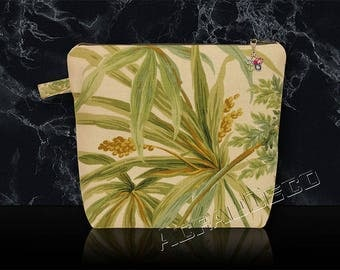 Toilet bag or a makeup - leaves and fins exotic green Emerald/taupe/green olive/amber on ivory background