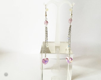 Lavender swarovski crystal earring