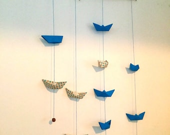 "Wall decor - paper folding origami boats Mobile ""On the sea"""