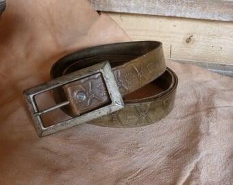 khaki leather belt decorated
