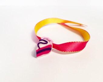 Ribbon Bracelet slice of pie - polymer clay