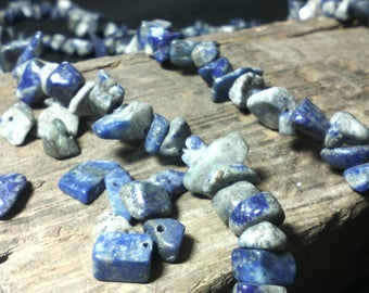 Pretty ☆40 beads natural chips/lapis lazuli 10-4 x 6-4 x 4-2 mm☆