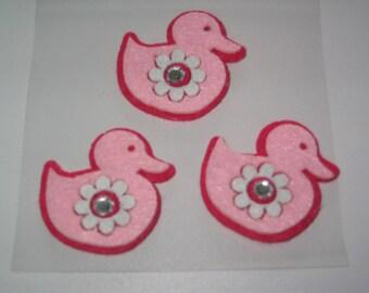 Set of 3 little ducks felt rose