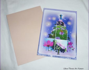 """Greeting card for Christmas made hand """"Florescence"""" 10.5x15cm"""