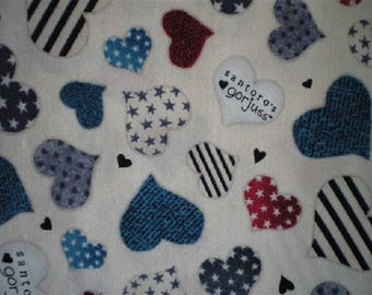 patchwork hearts on white fabric