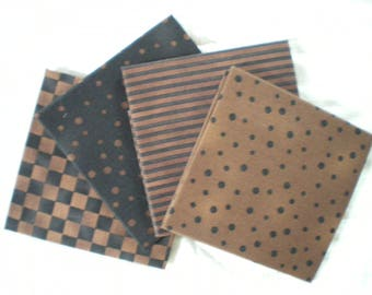 Fat quarter set of 4 Brown and black