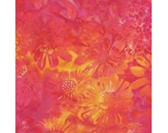 ref ib75h17 fuchsia pink yellow batik patchwork fabric