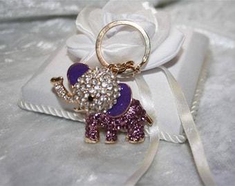 rhinestone elephant bag charm Keyring