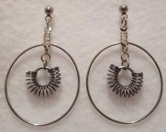 Hoop and Coil Dangling Post Earrings