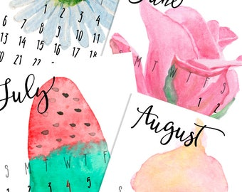 2018 Printable Calendar - Nature Calendar 2018 - Small  Calendar 2018 - 2018 Mini Calendar - 12 Month Calendar - Secret Santa Gift Idea