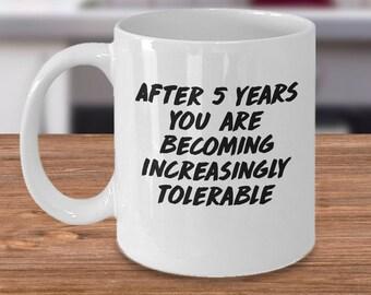 5 year anniversary, 5th anniversary mug, 5th anniversary gift, 5th anniversary mugs, 5 year anniversary mug, 5 year anniversary mugs